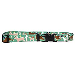 "Yellow Dog Design Woodland Friends Dog Collar with Tag-A-Long ID Tag System-Small-3/4"" and fits Neck 10 to 14"""