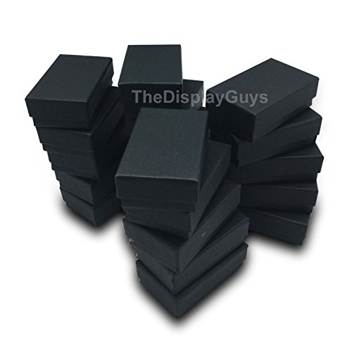 The Display Guys~ Pack of 100 Cotton Filled Cardboard Paper Black Jewelry Box Gift Case - Matte Black (2 5/8x1 1/2x1 inches #21)]()