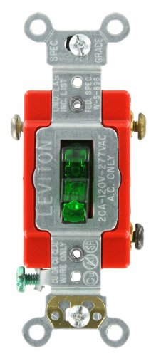Leviton 1221-PLG 20-Amp, 120 Volt, Toggle Pilot Light, Illuminated On, Req, Neutral Single-Pole AC Quiet Switch, Extra Heavy Duty Grade, Self Grounding, Green