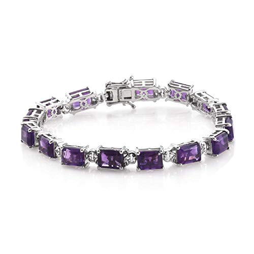 "925 Sterling Silver Platinum Plated Octagon Amethyst Tennis Bracelet for Women 7.25"" Cttw 19.4"