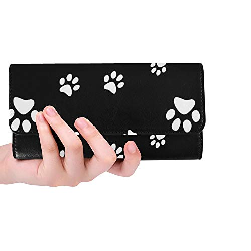 Unique Custom Dog Puppy Animal Paw Print White Women Trifold Wallet Long Purse Credit Card Holder Case ()