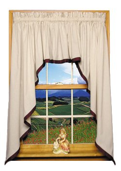 Roslyn Country Style Banded Swag Curtain Set 3 Piece 128-Inch-by-36-Inch, Hunter - 1 1/2 Inch Rod Pocket Window Toppers