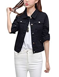 yulinge Womens Denim Jacket Long Sleeve Collar Button up Outerwear