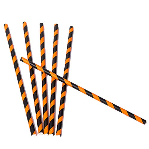 200 Pack Orange and Black Striped Paper Straws for Halloween Party Supplies for Kids Adult Accessories Biodegradable Vintage Drinking Birthdays Parties -