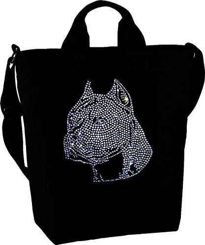 Damen Handtasche wunderschönes Strassmotiv Hund kristall - schöner Staffordshire Terrier Umhängetasche schwarz mit Strass