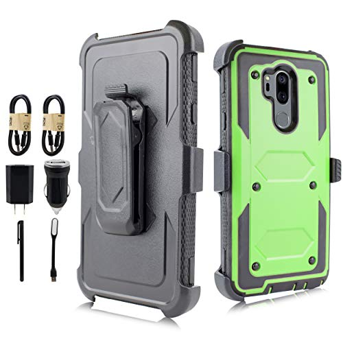 (LG G7 Case, LG G7 ThinQ Case, Full-Body Rugged Holster Case Built-in Screen Protector LG G7 2018 Release [Value Bundle] (Green))