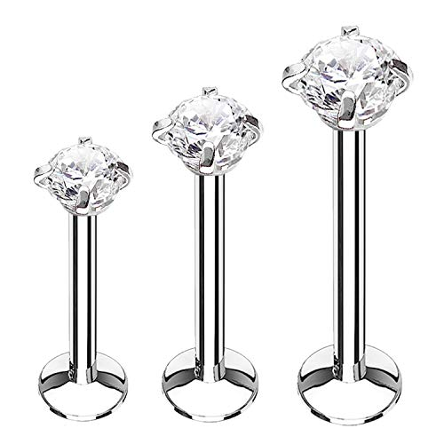 BodyJ4You 3PC Labret Stud Tragus Earring Set 16G Surgical Steel CZ Crystal Helix Monroe Cartilage (Surgical Steel Lip Rings Labret)