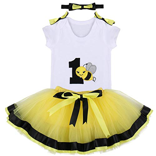 It's My First 1st Birthday Outfit Baby Girls Bee Romper + Ruffle Tulle Skirt + Bowknot Headband Shiny Party Princess Dress up Costume for Cake Smash Photo Shoot Fall Clothes Yellow Age 1 Year]()
