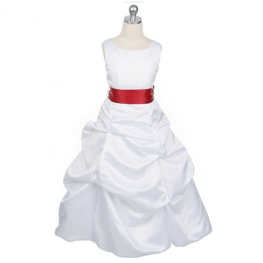 Amazon White Satin Flower Girl Dress With Red Sash Girls Size