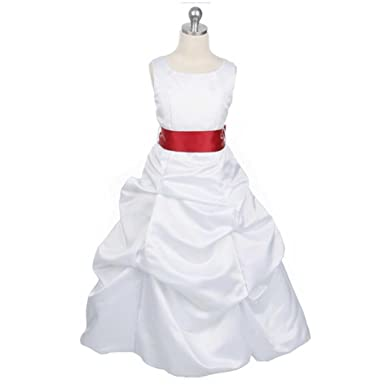 Amazon white satin flower girl dress with red sash girls size white satin flower girl dress with red sash girls size 12 toddler mightylinksfo