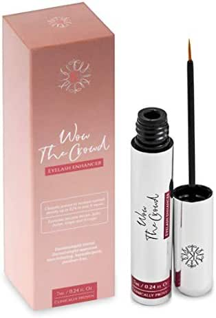 Wow the Crowd Eyelash Growth Serum for Full, Luscious, Long and Thick Lashes - Natural Formula (7mL), Clinically and Dermatologist Tested - Boost and Enhance Eyelashes and Brows