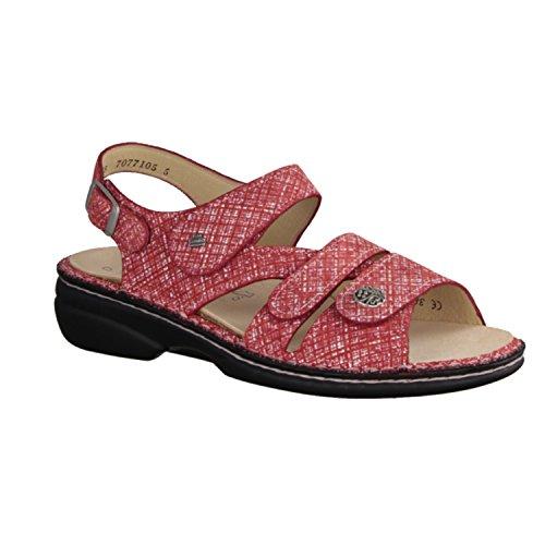 Finn Comfort Van Gomera - Damesschoenen Sandaal Comfortabele / Losse Insert, Rood, Leer (luchtspiegeling) Rood - Kleurrijke