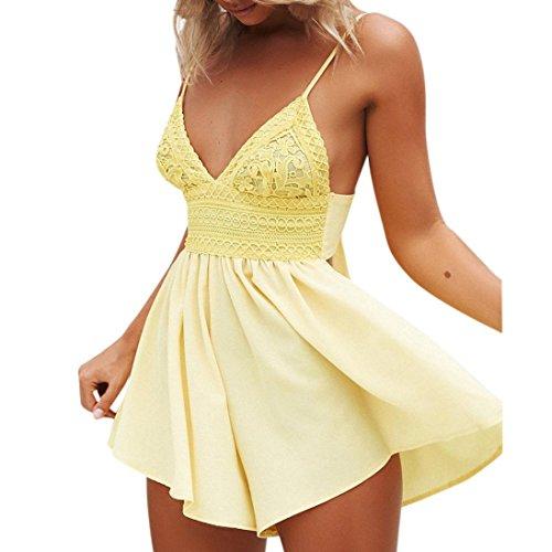 - TOPUNDER Women Summer Bowknot Backless Romper Mini Jumpsuit Party Beach Jumpsuit
