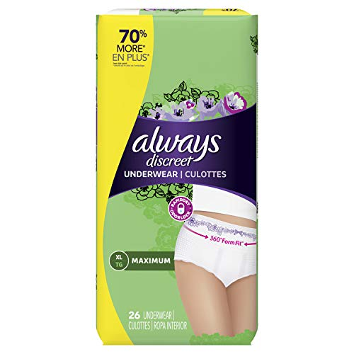 Discreet, Incontinence Underwear, Maximum Classic Cut, Extra-Large, 26 Count