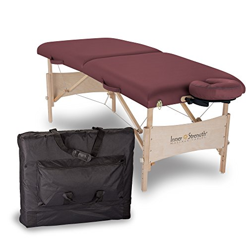 Inner Strength Portable Massage Table Package ELEMENT – Incl. Deluxe Adjustable Face Cradle, Face Pillow & Carrying Case, Burgundy (Deluxe Table Carrying Case)