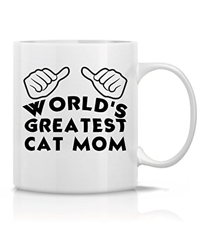 Hot Ass Mug's World's Greatest Cat Mom- Great Gift for,Mom,Wife, Co-Worker, Bosses, Teachers - Funny and Sarcasm-White Ceramic 11 OZ Tee and Coffee Mug