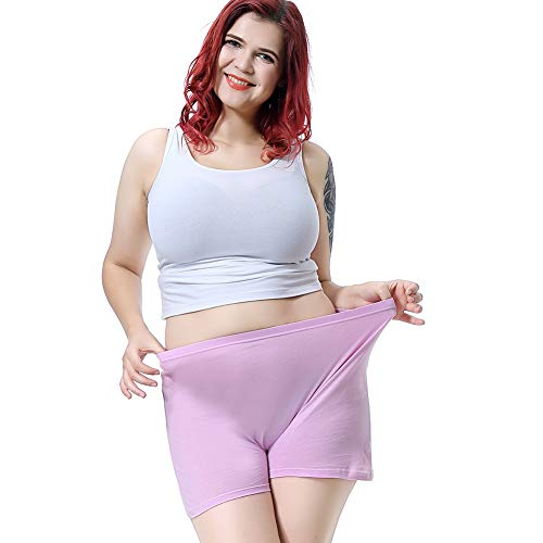 6 Pack Plus Size Underwear Panties Plus Women Boy Shorts Briefs Cotton Hipster Panties for Girls (Style 1, L)