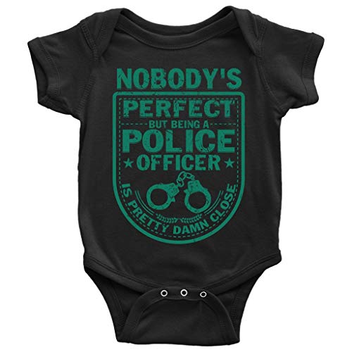 Nobody's Perfect Baby Bodysuit, Being A Police Officer Baby Bodysuit (12M, Baby Bodysuit - Black)