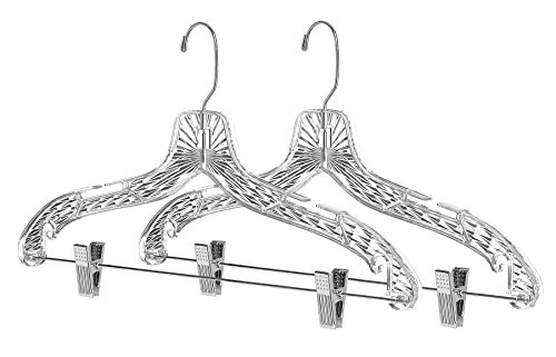 Whitmor Crystal Suit Hangers with Clips S/2