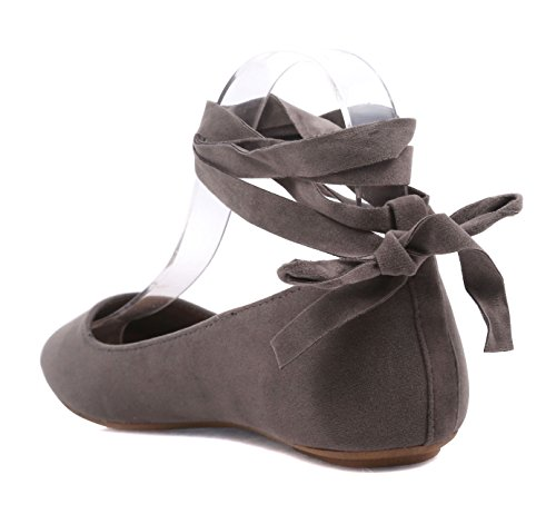 Women Adjustable Ankle Tie Up Laces Ladies Casual Ballet Flats Shoes Without Box Taupe-ankle Tie GLweoSYESK