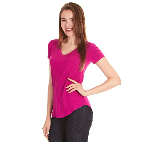 X America V Neck Short Sleeve Junior and Plus Size T Shirts for Women w/Pocket, Made in USA Pink
