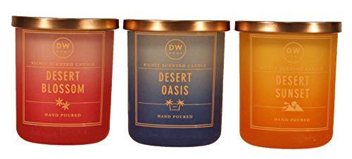 DW Home Candles - Desert Blossom, Desert Oasis, Desert Sunset - Set of Three - 4 Ounce Travel Size
