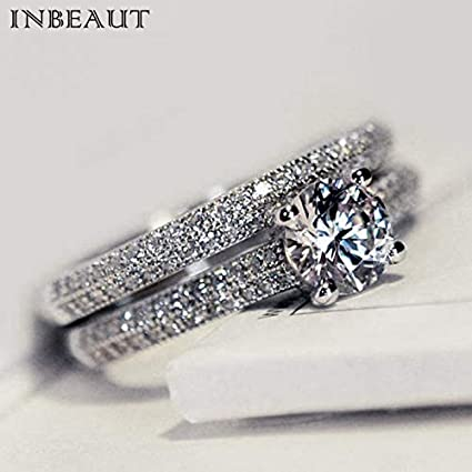 JEWH Women Wedding Ring Set - Sparkling Perfect Round Cut Zircon Stone Rings - Female Party