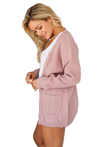 Cardigan Open Pink Front Stylish ART Elegant Long Women's and Pocket LADY Sweater ExACAqwp