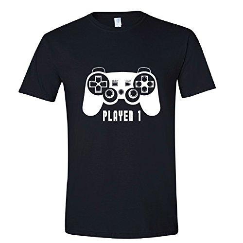 Player One Shirt, Player 1 Gift, Gamer Shirts for Dad, Mens Lg Black Shirt (Oine)