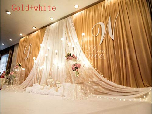 Eyestar 20x10ft Luxury Wedding Stage Silk Backdrop Background Curtains with Beauty Yarn Gauze Decoration (Gold+White) (Best Wedding Stage Decoration)