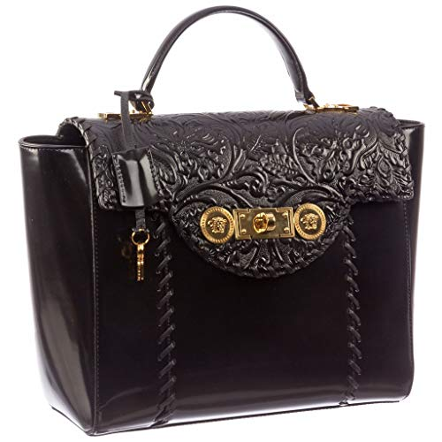 Leather Buckle Women's Black D410C Clutch Patent Versace DVRNX DP8E592 Medusa 7TB6PPWI