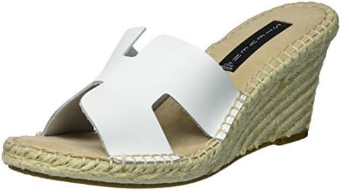 f78e2cd04de STEVEN by Steve Madden Women's Eryk Wedge Sandal, White Leather, 10 ...