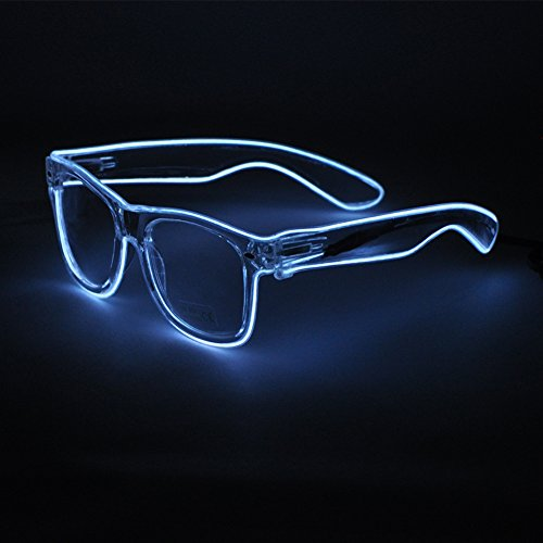 Sydnus EL Wire Rave Sunglasses LED Light Up Party Glasses(White) -