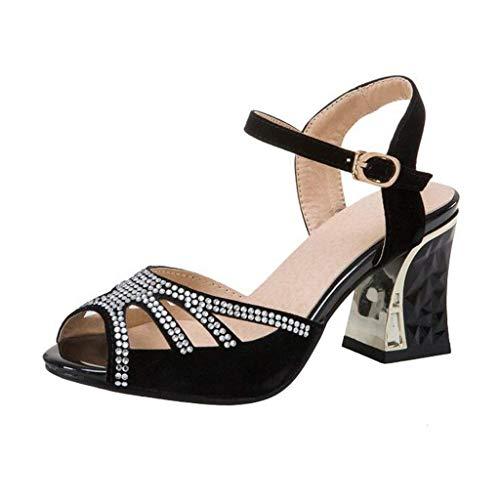 Uk Nero Tacco Cava Eeayyygch Dimensione Sandali Con Fibbia Punta Nero E Diamante Di A Forma colore 2 nnpZ4x