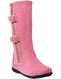 Knee High Flat Boots Little Kids Quilted Leather Zipper Trim Gold Buckle Riding GY-KB