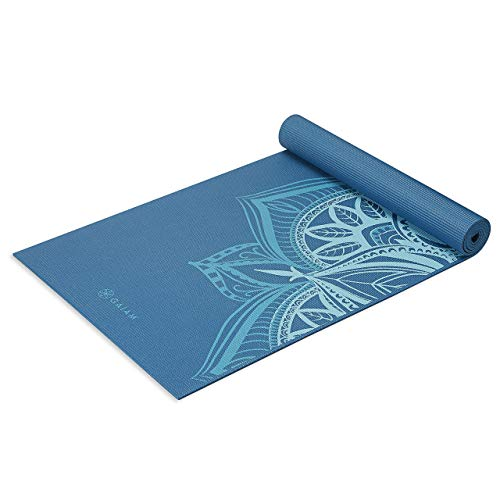 Gaiam Yoga Mat Premium Print Extra Thick Non Slip Exercise & Fitness Mat for All Types of Yoga, Pilates & Floor Workouts, Indigo Point, 6mm