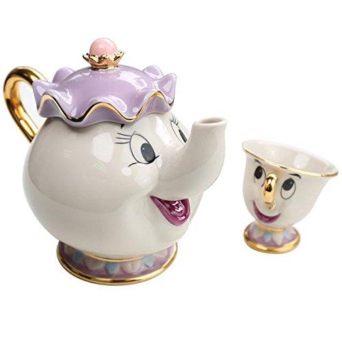 hitsan Bella y la bestia coffeeware Pot taza Set Chip taza de té hervidor de agua azúcar latas con caja de regalo porcelana...