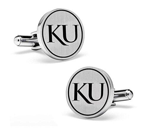 Kansas Jayhawks Cufflinks (Kansas Jayhawks Cufflinks - Sterling Silver 16mm Medium Size Round Top)