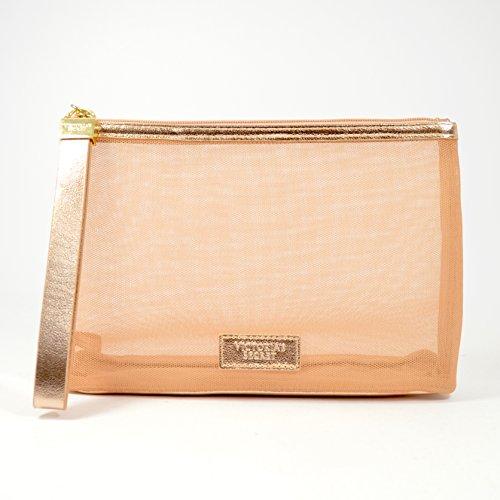 Victorias Secret Rose Gold Large Wristlet Travel Cosmetic Bag