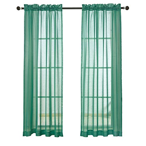 MYSKY HOME Rod Pocket Window Voile Sheer Curtains, Mint, 52 x 95 Inch, Set of 2 Panels