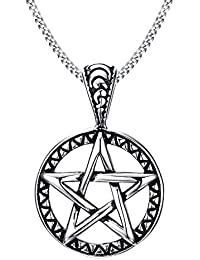 Stainless Steel Powerful Pentacle Necklaces Pentagram, Wicca Traditional Seal of Solomon Pendant, 23.5 Inch Curb Chain