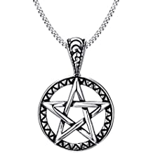 Blowin Stainless Steel Powerful Pentacle Necklaces Pentagram, Wicca Traditional Seal of Solomon Pendant, 23.5 Inch Chain