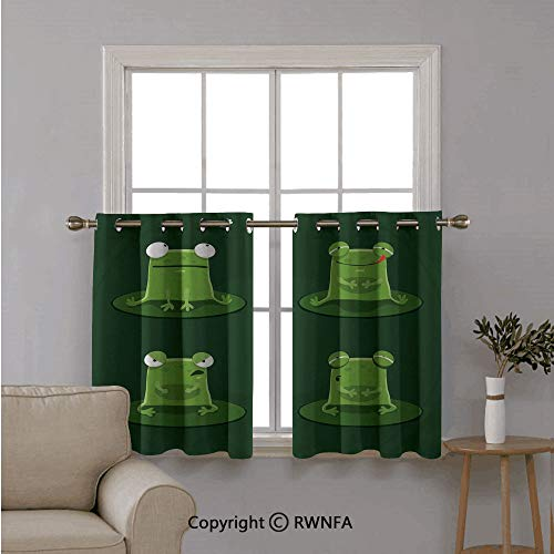 RWNFA Fashion Window Valances Curtain Panel Home,Funny Muzzy Frog on Lily Pad in Pond Hunting Tasty Fly Expressions Coon Animal,Top Window Treatments Short Curtains Tier,42