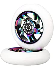 AIMINDENG Voltooi 2 stks 100 mm Pro Stunt Scooter Wheels Vervanging Wielen met ABEC-9 Lager -Neo Chrome