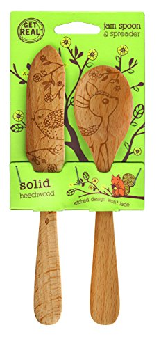 Talisman Designs 1888 Get Real Beech Wood Jam Spoon and Spreader Set, Woodland -
