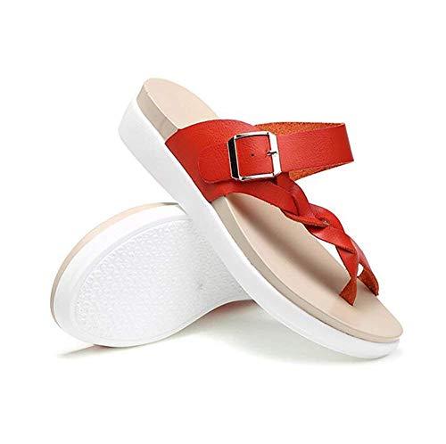 Tongs L'intérieur À Taille Pour Chaussons Oudan Antidérapantes 36 Femme Sandales Rouge coloré Des D'été Rouge 37 Chaussures ABxwnf8gx