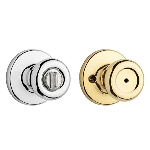 Kwikset 300T 3X26 6AL RCS 300T Security Series Tylo Privacy Door Knobset, Polished Brass x Polished Chrome - Chrome Privacy Door Knob