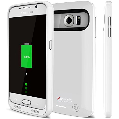 Galaxy S6 Battery Case, Alpatronix BX410 3500mAh Slim External Protective Removable Rechargeable Portable Charging Case for Samsung Galaxy S6 Juice Bank Power Pack [Android OS 8.0+ (Oreo)] - White by Alpatronix