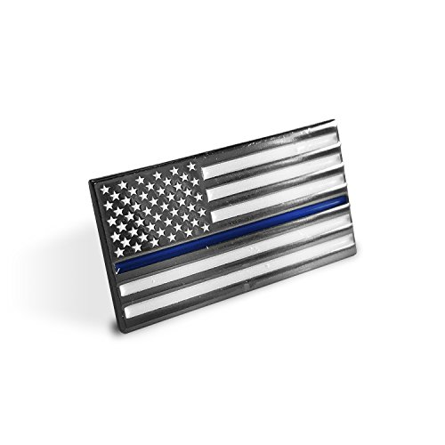 Thin Blue Line American Flag - Soft Enamel Metal Police Pin with Rubber Pin Back that Prevents Spinning. Perfect For Cop Uniform, Suit Lapel, or Tie