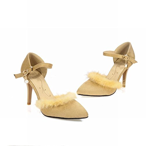 Carolbar Womens Buckle Faux Fur Decorations Fashion Sexy Dancing Ball High Stiletto Heel Dress Sandals Beige Yellow gcFm87KJxB